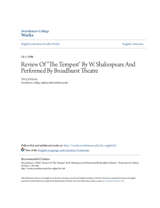 "Review Of ""The Tempest"" By W. Shakespeare And"
