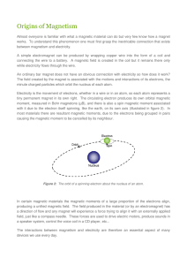 Magnetic Materials Background: 2. Origins of Magnetism