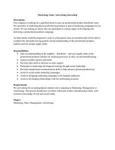 Distributor-Marketing/Sales/Advertising Intern Job Description