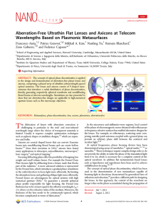 Aberration-Free Ultrathin Flat Lenses and Axicons at Telecom