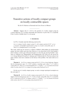 Transitive actions of locally compact groups on locally contractible