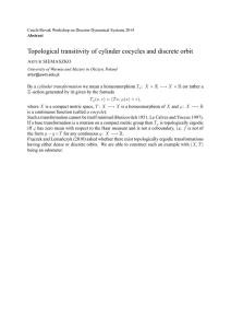 Topological transitivity of cylinder cocycles and discrete orbit