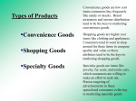 Types of Products Convenience Goods Shopping Goods Specialty