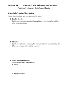 Section 2 - Jewish Beliefs and Texts