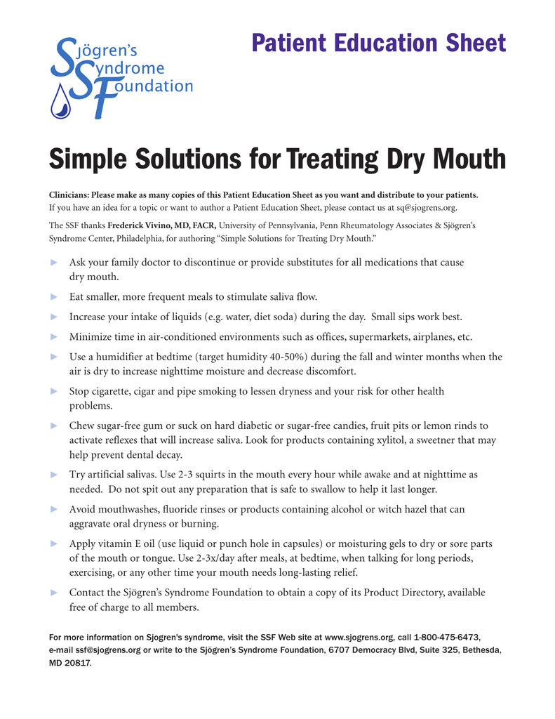 Simple Solutions for Treating Dry Mouth