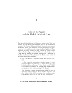 Roles of the Quran and the Hadith in Islamic Law