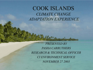 COOK ISLANDS CLIMATE CHANGE ADAPTATION EXPERIENCE