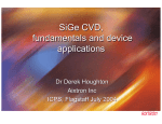 SiGe CVD, fundamentals and device applications SiGe CVD