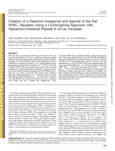 Creation of a Selective Antagonist and Agonist of the Rat VPAC1
