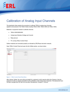Calibration of Analog Input Channels
