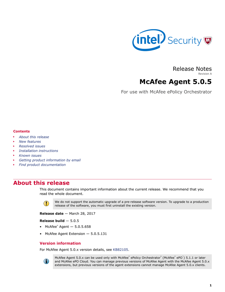 McAfee Agent 5 0 5 - knowledge mcafee com