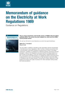 Memorandum of guidance on the Electricity at Work