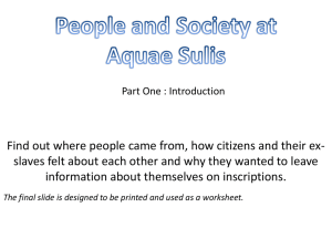 Society and individuals at Aquae Sulis 1