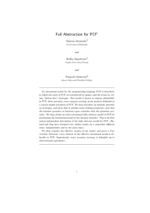 Full abstraction for PCF - Department of Computer Science, Oxford