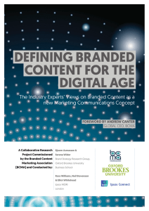 DEFINING BRANDED CONTENT FOR THE DIGITAL AGE