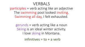 VERBALS participles = verb acting like an adjective The swimming