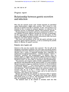 Relationship between gastric secretion and infection