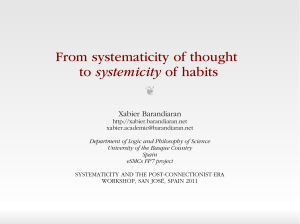 From systematicity of thought to systemicity of habits