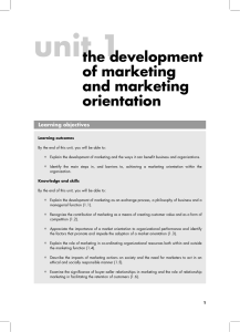 the development of marketing and marketing orientation
