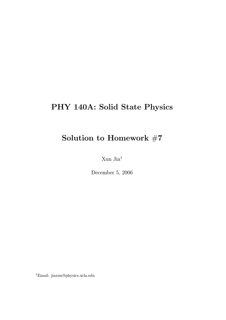 phy 140a solid state physics solution to homework