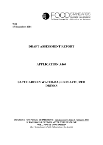 draft assessment report application a469 saccharin in water