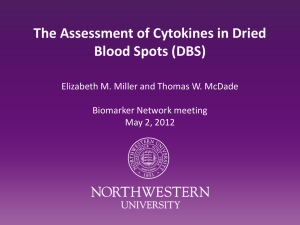 The Assessment of Cytokines in Dried Blood Spots (DBS)