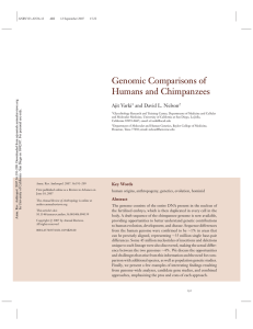 Genomic Comparisons of Humans and Chimpanzees
