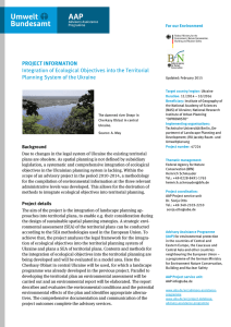 PROJECT INFORMATION Integration of Ecological Objectives into