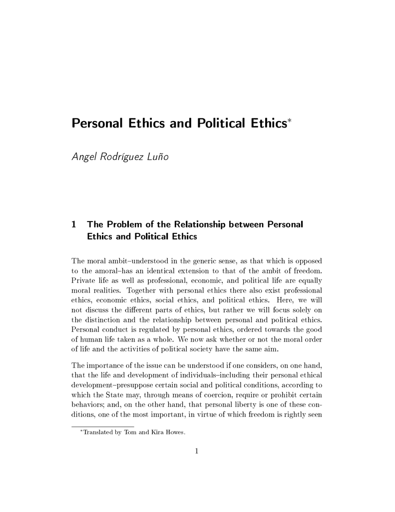 personal ethics development paper