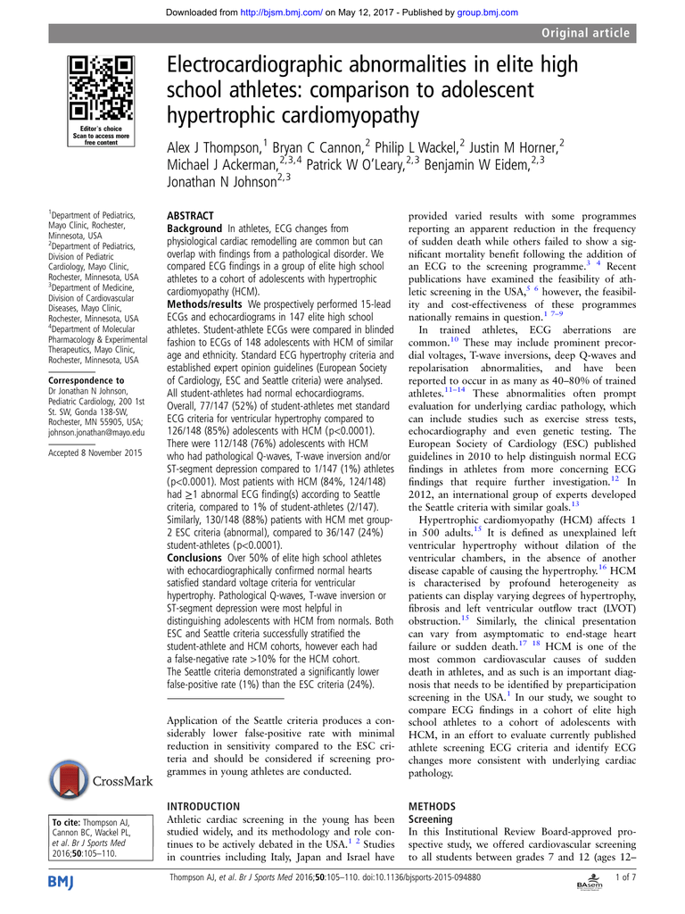 Electrocardiographic abnormalities in elite high school athletes