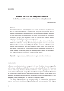 Modern Judaism and Religious Tolerance