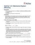 Activity 1.2.5 Mechanical System Efficiency Equipment