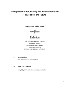Management of Ear, Hearing and Balance Disorders: Fact, Fiction