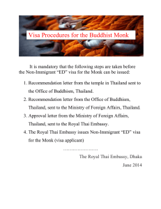Visa Procedures for the Buddhist Monk