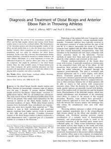 Diagnosis and Treatment of Distal Biceps and Anterior Elbow Pain