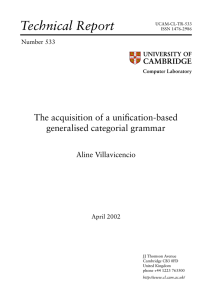 The acquisition of a unification-based generalised categorial grammar