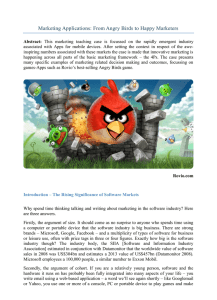 Marketing Applications: From Angry Birds to Happy Marketers