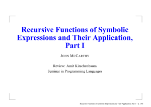 Recursive Functions of Symbolic Expressions and Their Application