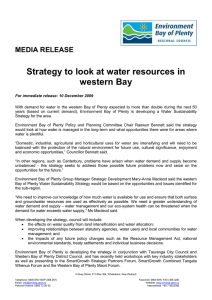 Strategy to look at water resources in western Bay