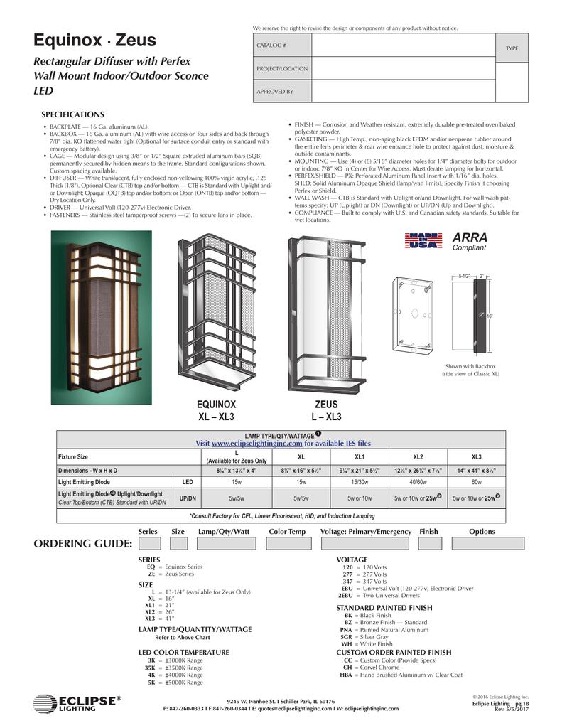 Zeus Series Eclipse Lighting Inc