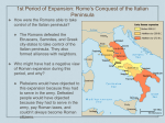 Rome`s Conquest of the Italian Peninsula POWERPOINT