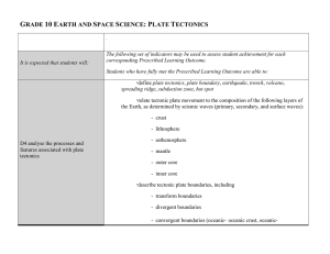 GRADE 10 EARTH AND SPACE SCIENCE: PLATE