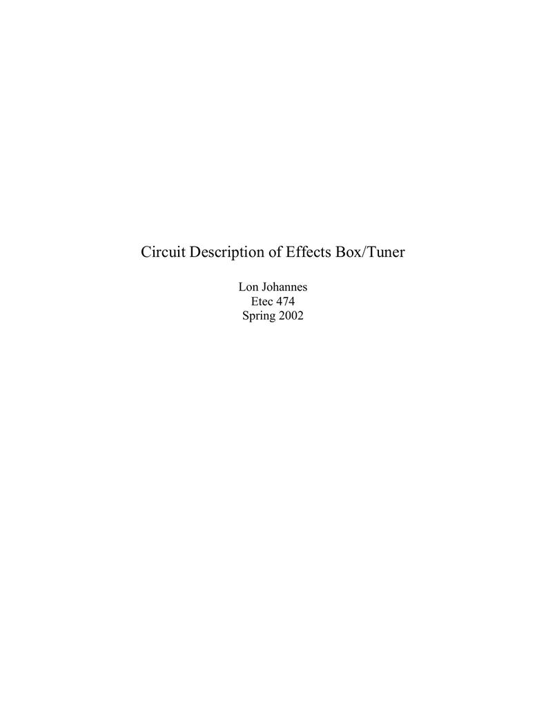 Circuit Description Of Effects Box The Technology Autowahs Envelopecontrolled Filters