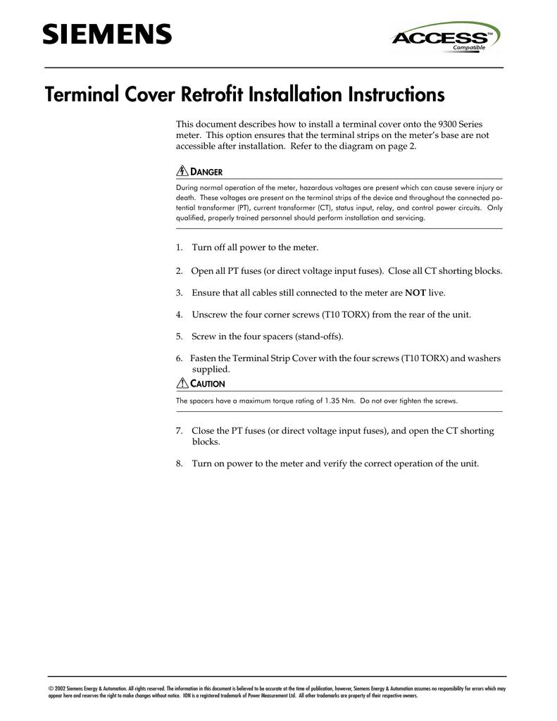 Terminal Cover Retrofit Installation Instructions