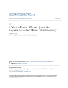 A Selective Review of Recent Quantitative Empirical Research in