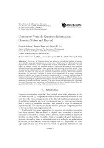 Continuous Variable Quantum Information: Gaussian States and