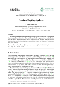 On skew Heyting algebras - ars mathematica contemporanea