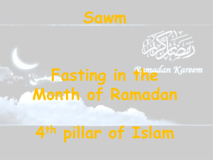 Sawm Fasting in the Month of Ramadan 4th pillar of Islam