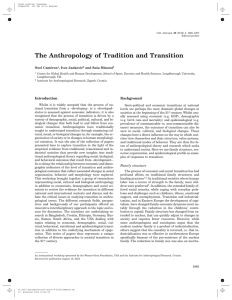 The Anthropology of Tradition and Transition