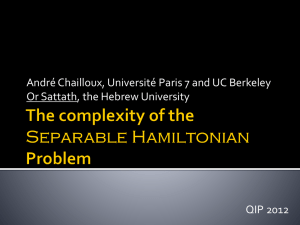 The complexity of the Separable Hamiltonian